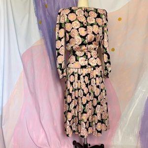 VINTAGE 80s 100% Silk Pink Floral Drop Waist Dress